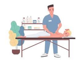 Massage flache Farbe Vektor Zeichen. Spa-Behandlung für junge kaukasische Frau. männlicher professioneller Masseur. Kundin entspannen auf dem Bett. Schönheitssalonverfahren isolierte Karikaturillustration