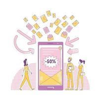 E-Mail-Marketing dünne Linie Konzept Vektor-Illustration. Vermarkter und Benutzer 2d Zeichentrickfiguren für Webdesign. Online-Werbebrief, Newsletter-Spam, kreative Idee für Werbebotschaften vektor