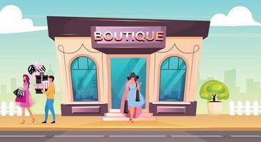 flache Farbvektorillustration der Boutiquefront. Frau kauft Kleidung im Premium-Shop. Luxus-Modegeschäft für den Kauf von Kleidungsstücken. modernes 2d Cartoon-Stadtbild mit Kunden auf Hintergrund vektor
