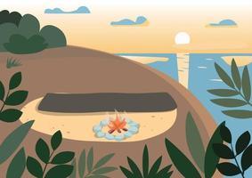 Strand in der Nacht flache Farbvektorillustration. Picknickdecke in der Nähe von Lagerfeuer. Sommercamping, Urlaub in der Natur. Abendküsten-, Klippen- und See-2d-Karikaturlandschaft mit Sonnenuntergang auf Hintergrund vektor