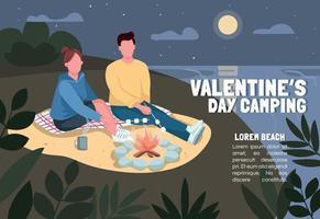 Valentinstag Camping Banner flache Vektor-Vorlage. Broschüre, Plakatkonzeptentwurf mit Zeichentrickfiguren. Paar Braten Marshmallow am Strand horizontalen Flyer, Flugblatt mit Platz für Text vektor