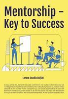 Mentoring ist der Schlüssel zum Erfolg Poster flache Silhouette Vektor Vorlage. Business School Broschüre, Broschüre einseitiges Konzeptdesign mit Comicfiguren. Schulungsflyer, Faltblatt mit Textraum