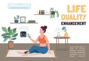flache Vektorschablone zur Verbesserung der Lebensqualität. iot Technologies Broschüre, Plakatkonzeptdesign mit Comicfiguren. Horizontaler Flyer des Klimatisierungssystems, Broschüre mit Platz für Text vektor