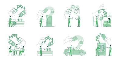 NFC Vorteile flache Silhouette dünne Linie Konzept Vektor-Illustrationen gesetzt. Menschen, die bargeldlos bezahlen und Keycards-2D-Zeichentrickfiguren für das Webdesign verwenden. kreative Ideen für kontaktlose Systeme vektor