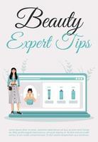 Beauty-Experten Tipps Poster flache Vektor-Vorlage. Hautpflege Tagesablauf Blog. Broschüre, Broschüre einseitiges Konzeptdesign mit Comicfiguren. Kosmetikverfahren Ratschläge Flyer, Faltblatt vektor