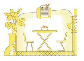 rekryteringsplats platt silhuett vektorillustration. konturkomposition för jobbförhandlingsrum på gul bakgrund. tom mötesplats och pratbubbla kandidat cv enkel stil ritning vektor