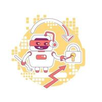 Hacker Bot dünne Linie Konzept Vektor-Illustration. Diebstahl von Passwort, Daten und Inhalten des persönlichen Kontos. schlechte Schaberroboter 2d Zeichentrickfigur für Webdesign. kreative Idee für Cyber-Angriffe vektor