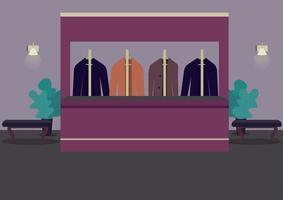 Garderobe flache Farbvektorillustration. Kleiderschrank, um Sachen zu pflücken. Theatersaal. Restaurant Lobby. Anzüge auf Kleiderbügeln. Casino Raum 2d Cartoon Interieur mit Rezeptionist Zähler auf Hintergrund vektor