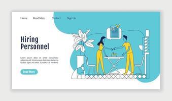 Einstellung Personal Landing Page flache Silhouette Vektor Vorlage. Headhunting-Homepage-Layout. HR-Management einseitige Website-Oberfläche mit Cartoon-Gliederung. Personalauswahl Web-Banner, Webseite