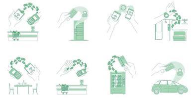 elektronische Zahlungen und Schlüsselkarten dünne Linie Konzept Vektor-Illustrationen gesetzt. Menschen, die intelligente Geräte 2d Zeichentrickfiguren für das Webdesign verwenden. NFC-Technologien, Geldtransaktionen kreative Ideen vektor