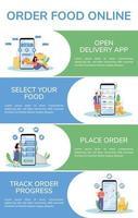 Lebensmittel bestellen flache Farbe Vektor Infografik Vorlage. Mobile App Poster, Booklet, Ppt-Seiten-Konzeptdesign mit Comicfiguren. Online-Service-Werbeflyer, Faltblatt, Info-Banner-Idee