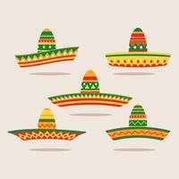 Flat Illustration Set Sombrero vektor