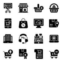 online shopping och handel ikonuppsättning vektor