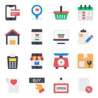 Einkaufs- und Handelssymbolsatz vektor