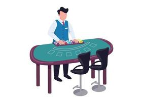 Händler flacher Farbvektor gesichtsloser Charakter. Mann in einheitlicher Zählung Stapel von Chips. Blackjack Schreibtisch. Zähler mit Layout für Kartenspiel. Croupier hinter grüner Tabelle isolierte Karikaturillustration vektor