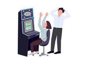 Spieler flache Farbe Vektor gesichtslose Zeichen. Frau gewinnt am Spielautomaten. Mann beobachten weibliche Spielerin. Person feiert Geld zu gewinnen. Holen Sie sich einen Jackpot beim Glücksspiel. Casino isolierte Cartoon-Illustration