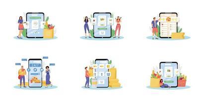 Online-Lebensmittelbestellung flache Konzept Vektor-Illustrationen gesetzt. Internet-Lebensmittelhändler, Küche zu Hause, Essen Lieferservice Metaphern. Produktkäufer, Fast-Food-Kurier und kochen 2d Zeichentrickfiguren vektor