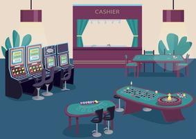 flache Farbvektorillustration des Glücksspiels. Spielautomat und Obstautomaten Reihe. grüner Tisch um Poker zu spielen. Blackjack Game Desk. Casino Raum 2d Cartoon Interieur mit Kassierer Zähler auf Hintergrund vektor