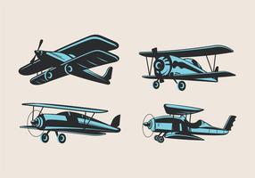 Satz Weinlese-Doppeldecker-oder Flugzeug-Anziehungskräfte vektor