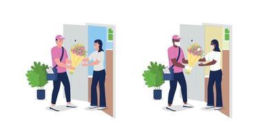 Auslieferungsmann mit Blumen und detailliertem Zeichensatz des flachen Farbvektors des Kunden vektor