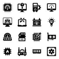 server och system ikonuppsättning vektor