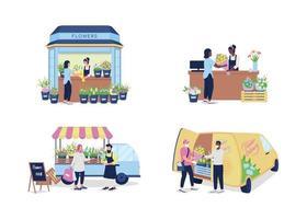 Kauf und Verkauf von Blumen flachen Farbvektor detaillierten Zeichensatz vektor