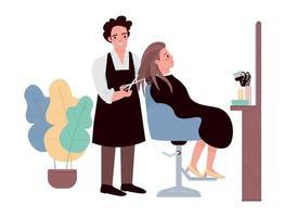 Friseur flache Farbe Vektor Zeichen. männlicher Friseur macht Haarschnitt. weibliche kaukasische Klientin, die Frisur bekommt. professioneller Friseur. Schönheitssalonverfahren isolierte Karikaturillustration
