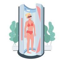 Sonnenbräunung flache Farbe Vektor Zeichen. Solariumbehandlung. Sunbed Machine Indoor-Kosmetiksalon. Frau, die künstliche Lampenbräunung erhält. Schönheitssalonverfahren isolierte Karikaturillustration