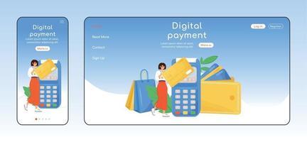 adaptive Landingpage flache Farbvektorvorlage der digitalen Zahlung. bargeldlose Transaktionen Mobil- und PC-Homepage-Layout. Kundendienst eine Seite Website ui. plattformübergreifendes Design der Kreditkarten-Webseite vektor