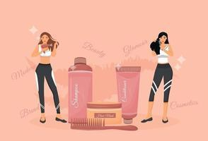 flache Konzeptvektorillustration der Haarpflegeverfahren und -produkte. Frauen mit Haartrockner und Kamm mit Shampoo und Conditioner 2d Zeichentrickfiguren für das Webdesign. Haarpflege Routine kreative Idee vektor