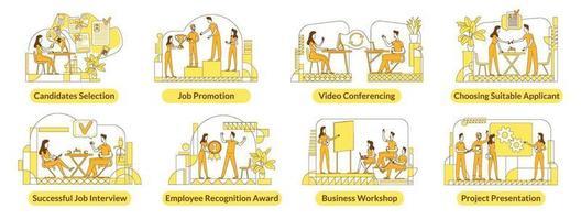 Einstellung flache Silhouette Vektor-Illustrationen gesetzt. Mitarbeiter des Unternehmens skizzieren Zeichen auf weißem Hintergrund. HR-Management, Rekrutierungsdienste, Headhunting-Packungen mit einfachen Stilzeichnungen vektor