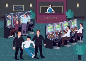 Casino flache Farbvektorillustration. Mann und Frau spielen Lotterie. Sicherheit gehen Verlierer mit leeren Taschen weg. Spieler 2d Zeichentrickfiguren im Innenraum mit Gruppe von Personen auf Hintergrund vektor