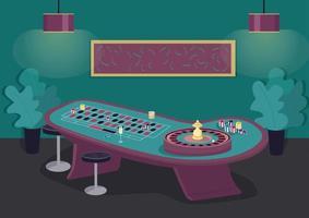 flache Farbvektorillustration des Roulette-Tisches. Drehrad, um die Wette zu gewinnen. Setzen Sie den Einsatz auf Schwarz und Rot. Glücksspielunterhaltung. Casino Raum 2d Cartoon Interieur mit Luxusdekoration auf Hintergrund vektor