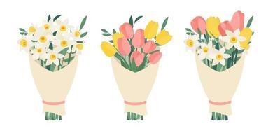 Blumenstrauß-Sammlung eingestellt mit Frühlingsblumen-Tulpen und Narzissen lokalisiert auf weißem Hintergrund. Vektorillustration eps10 vektor