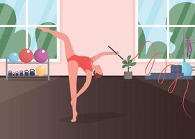 gymnast i studio platt färg vektorillustration vektor