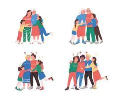 familj på vintersemester platt färg vektor ansiktsfri karaktär
