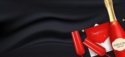 realistischer 3d Umschlag mit Glückwünschen, champagnerroter Flasche und Gläsern auf schwarzem Seidenhintergrund. Vektorillustration vektor