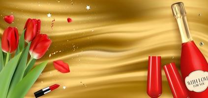 realistische rote Champagnerflasche 3d, Gläser und Tulpen auf goldenem Seidenhintergrund. Vektorillustration vektor