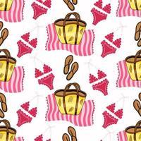 Vektor nahtloses Muster mit rosa Badeanzug, rosa gestreiftem Handtuch, Frauensandalen, Strandtasche auf weißem Hintergrund. Sandstrand. Sommerzubehör