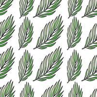 Vektor nahtloses Muster mit grünen tropischen Blättern, Sommerhüten und Frauensandalen, Sommerzeit auf weißem Hintergrund