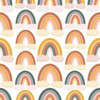 böhmisches, modernes nahtloses Boho-Chic-Muster mit handgezeichneten abstrakten Regenbogen im skandinavischen Stil vektor