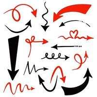 Sammlung von roten und schwarzen handgezeichneten Pfeilen Zeichen vektor