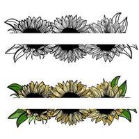 Banner, Grenze, Tinte Sonnenblumen auf weißem Hintergrund für Grußkarte, Strichzeichnungen. handgezeichnete dekorative blühende Sonnenblumenelemente im Vektor