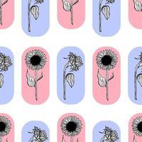 nahtloses Muster mit schwarzer Sonnenblumenblumen-Linienkunst auf gelbem Hintergrundillustration einer Sonnenblume. handgezeichnete dekorative blühende Sonnenblumenelemente im Vektor