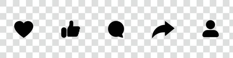 sociala medier ikoner, som dela kommentar admin vektor pack