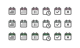 Kalendersymbolsatz isolierte Vektorpackung, einfache Illustration mit isometrischen Gittern gemacht vektor