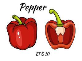 isolierte Ikone des Gemüses des frischen roten Pfeffers. Pfeffer für Bauernhofmarkt, vegetarisches Salatrezeptdesign. vektor