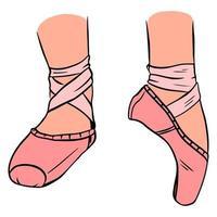 Ballett Spitzenschuhe. rosa Spitzenschuhe am Bein. vektor