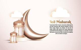 Ramadan Kareem islamisk hälsningbakgrund 3d med halvmåne och arabisk lykta vektor