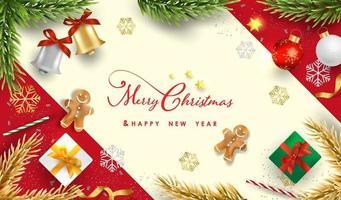 Frohe Weihnachten und ein frohes neues Jahr Hintergrunddesign mit schönen Elementen Banner. vektor